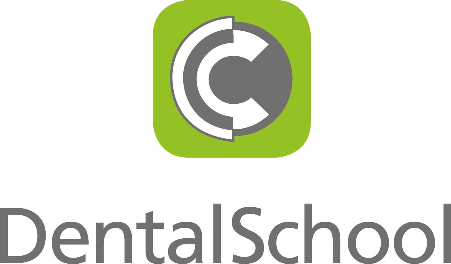 Partner - DentalSchool GmbH ausgeschrieben mit grün/grauen Icon darüber